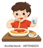 a little boy happy to eat... | Shutterstock .eps vector #687046024