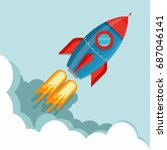 flying rocket illustration | Shutterstock .eps vector #687046141