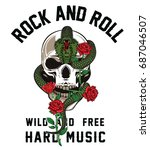 rock and roll graphic design... | Shutterstock .eps vector #687046507