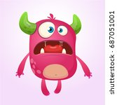 cartoon pink monster. monster... | Shutterstock .eps vector #687051001