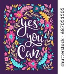 hand drawn vector flowers card. ... | Shutterstock .eps vector #687051505