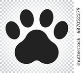 paw print vector icon. dog or... | Shutterstock .eps vector #687052279