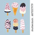 vector set of cute simple ice... | Shutterstock .eps vector #687057979