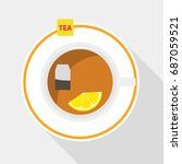 a tea bag with lemon is brewed... | Shutterstock .eps vector #687059521
