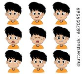 set of emotion cute boy  smile  ... | Shutterstock .eps vector #687059569