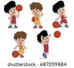 set of kid playing basketball... | Shutterstock .eps vector #687059884