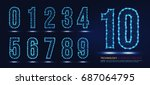 set of numbers technology... | Shutterstock .eps vector #687064795