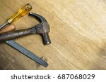 hammer  screwdriver and rasp on ... | Shutterstock . vector #687068029
