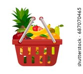 a red fruit basket with fruits. ... | Shutterstock .eps vector #687070465