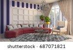 interior living room. 3d... | Shutterstock . vector #687071821