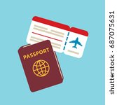 travel documents flat icons... | Shutterstock .eps vector #687075631