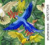 sky bird parrot pattern in a... | Shutterstock . vector #687077245