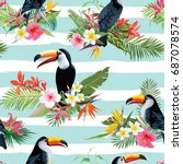 tropical flowers and toucan... | Shutterstock .eps vector #687078574