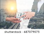 double exposure of business... | Shutterstock . vector #687079075