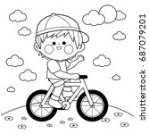 boy riding a bicycle at the... | Shutterstock .eps vector #687079201