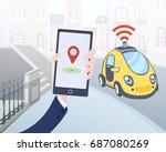 mobile application for ordering ... | Shutterstock .eps vector #687080269