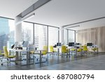 wooden wall open space office... | Shutterstock . vector #687080794
