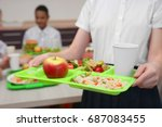 girl holding tray with... | Shutterstock . vector #687083455