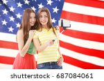 friends tacking selfie and usa...   Shutterstock . vector #687084061
