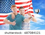 friends tacking selfie and usa... | Shutterstock . vector #687084121