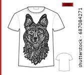 white gift t shirt with dog... | Shutterstock .eps vector #687084271