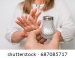 woman refusing salt using... | Shutterstock . vector #687085717