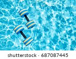 top view   pair of dumbbells... | Shutterstock . vector #687087445