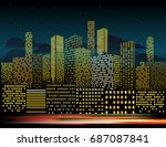 modern cityscape in the evening ... | Shutterstock .eps vector #687087841