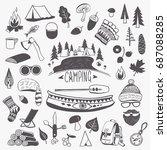 handwritten black and white... | Shutterstock .eps vector #687088285