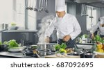famous chef of a big restaurant ... | Shutterstock . vector #687092695