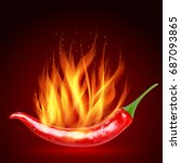 red hot natural chili pepper... | Shutterstock .eps vector #687093865