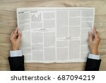 businessman reading newspapers... | Shutterstock . vector #687094219