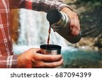 unrecognizable traveler pouring ... | Shutterstock . vector #687094399