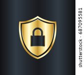 golden shield with padlock icon | Shutterstock .eps vector #687095581