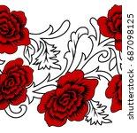 seamless floral border | Shutterstock . vector #687098125