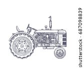 vintage agricultural tractor ... | Shutterstock .eps vector #687098839