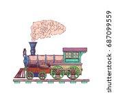 vintage steam locomotive vector ...   Shutterstock .eps vector #687099559