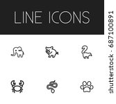 set of 6 editable zoo outline...