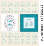save the date. wedding... | Shutterstock .eps vector #687102115