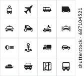 set of 16 editable transport... | Shutterstock .eps vector #687104521