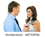 happy young couple with wine... | Shutterstock . vector #68710936
