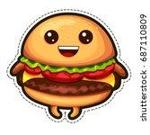 vector emoji sticker burger.... | Shutterstock .eps vector #687110809