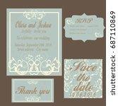 vintage wedding invitation... | Shutterstock .eps vector #687110869