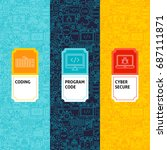 line coding patterns set.... | Shutterstock .eps vector #687111871