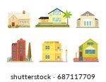 cottage and assorted real... | Shutterstock .eps vector #687117709
