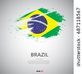 Flag Of Brazil With Brush...