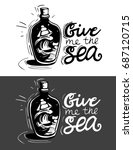 hand drawn label with a ship in ...   Shutterstock .eps vector #687120715