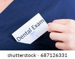 closeup hand hold visit card...   Shutterstock . vector #687126331