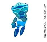 funny blue robot. ui  script ...