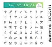 set of 56 calisthenics line... | Shutterstock .eps vector #687132691